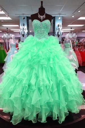 Ball Gowns Quinceanera Dresses Ruffles Skirt With Beading Sweetheart,P1846