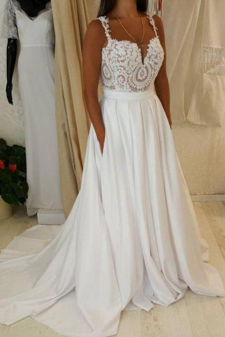 Spaghetti Strap Sweetheart Neck Lace Top Wedding Dress With Pocket On Skirt ,W1876