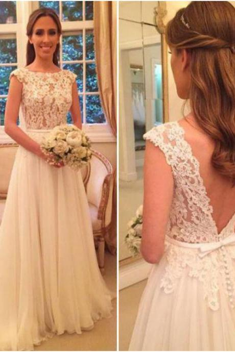 Lace Wedding Dresses, Wedding Dresses Chiffon,W1877