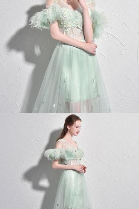 Sexy Prom Dresses A-line Short Sleeve Sage Long Prom Dress Tulle Evening Dress,P1878
