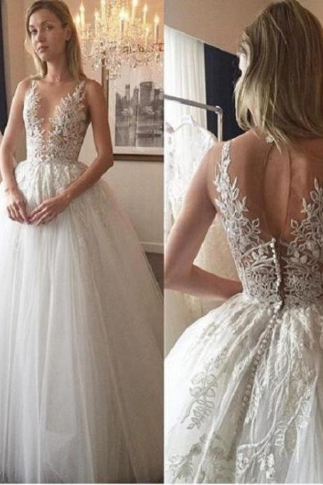 Ivory Wedding Dresses, Long Wedding Dresses, Sleeveless Wedding Dresses, Applique Wedding Dresses, Floor-length Wedding Dresses,W1970