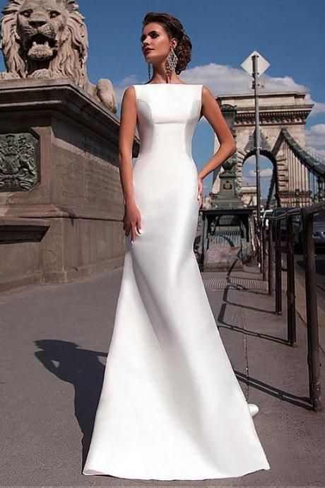 Satin Mermaid Wedding Dresses 2018 Bateau Boat Neck Sleeveless Fitted Long Sheath With Detachable Train Bow V Back Plus Size Bride Gowns,W1987