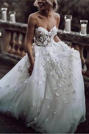 Boho Lace Flowers Sweetheart Tulle Wedding Dresses,W1993