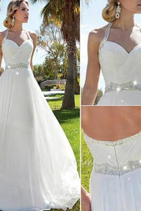 Sweetheart A-line Sequined White Chiffon Wedding Dresses.Cheap Wedding Dresses,W2000