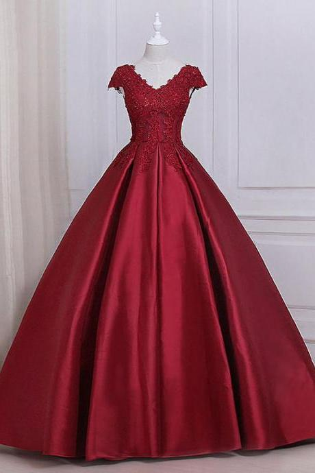 See Through Cap Sleeves Red Lace A line Long Evening Prom Dresses,P2016