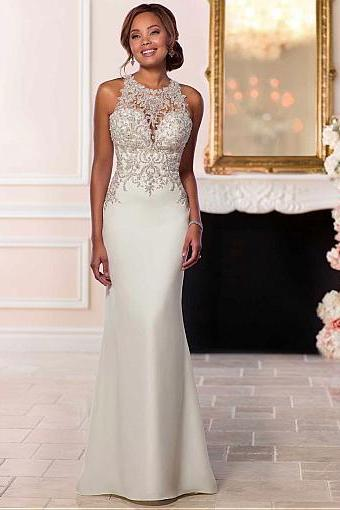Attractive Tulle & Satin Jewel Neckline Natural Waistline Mermaid Wedding Dress With Beaded Lace Appliques,W2150