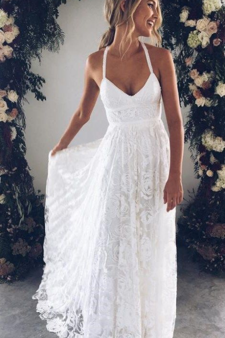 Halter Empire White Lace Prom/Evening Dress,Beach Lace Wedding Dress Informal,White Lace Maxi Dress,W2198