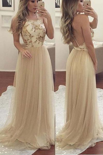 Open Back Lace Spaghetti Straps Long Prom Dresses Evening Gowns ,P2205