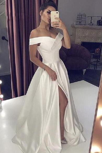 Sexy V Neck Long White Prom Dresses With High Split Elegant A-line Woman Off the Shoulder Special Evening Formal Gowns,W2218