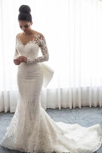 Gorgeous Long Sleeve Wedding Dresses New Fashion 2019 Mermaid Lace Bridal Gowns Mopping Long Section Noble Wedding Gowns,W2219