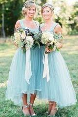 Hot Sale Scoop Simple Light Blue Sleeveless Tulle Long Bridesmaid Dresses,B2230