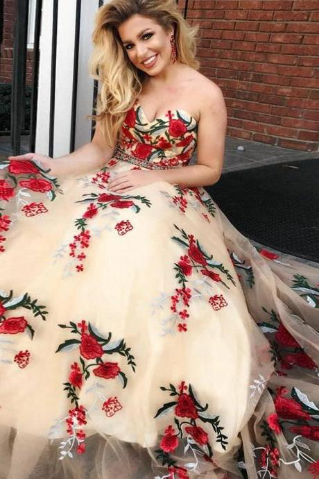 Beautiful Prom Dresses Sweetheart A-line Embroidery Tulle Long Prom Dress,P2246