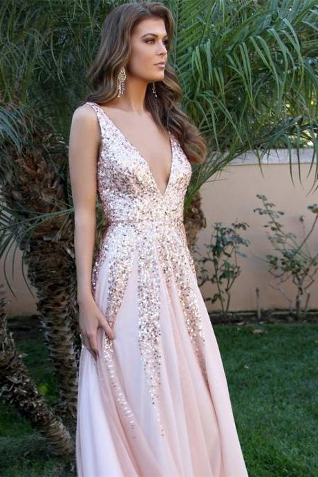 Chic Prom Dresses A Line V-neck Floor-length Long Pink Prom Dress ,P2247