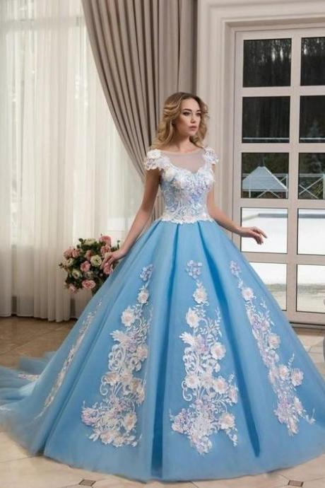 Princess Ball Gown Prom Dresses Light Blue Sheer Neck Lace Appliqued Flower Evening Gowns Vintage Formal Pageant Dress,P2260
