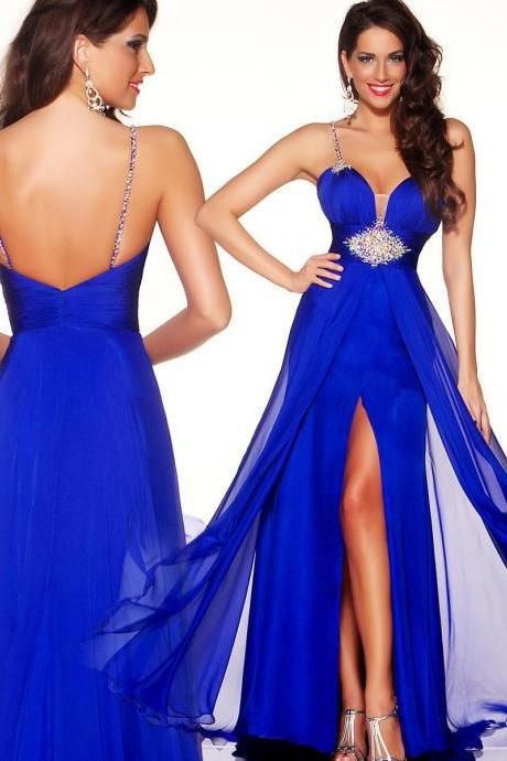 2019 Elegant Royal Blue Evening Dresses Chiffon Beaded Split A Line Long Spaghetti Strap Backless Evening Dress Prom Party Gown,P2268