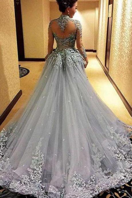 Court Train Prom Dress, Cheap Princess Prom Dresses, Long Sleeves Prom Dress, Tulle Evening Dress, Gray Evening Dresses, Long Formal Dresses, Prom Dress,P2271