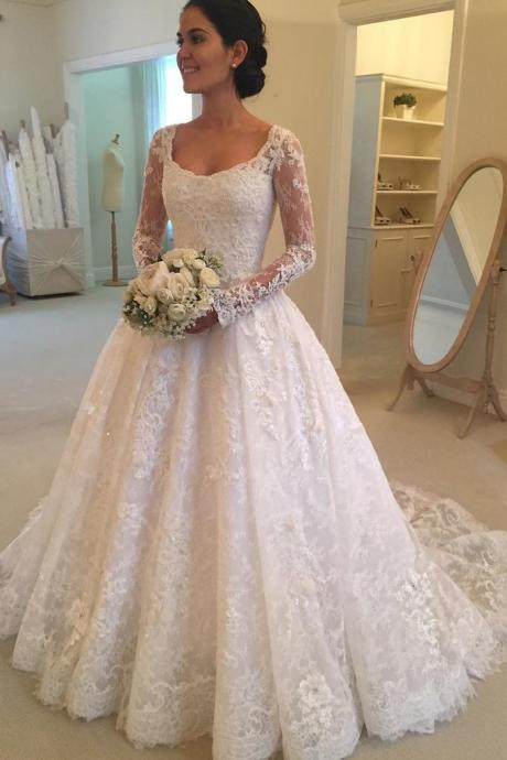 Long Sleeves Scoop Off White Lace A Line Elegant Wedding Dresses,W2274