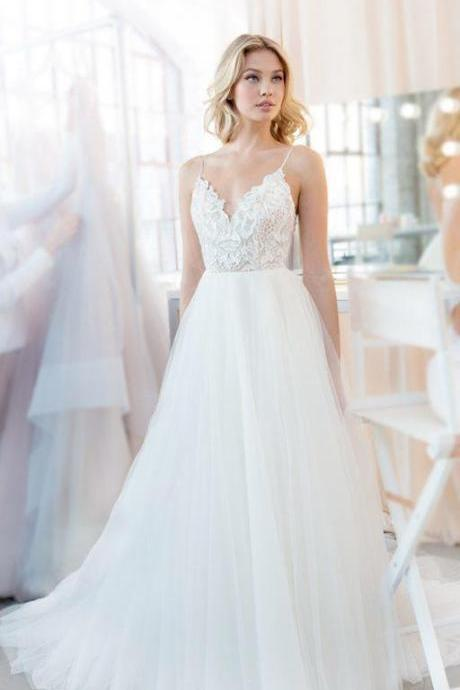 Charming White Simple Spaghetti straps Lace Wedding Dress,V neck Bridal Gowns with Train,Beach Wedding Dresses,W2329
