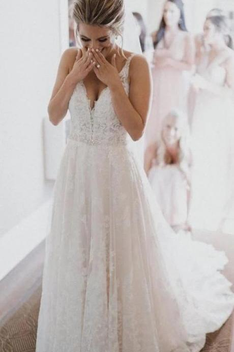 A line V-neckline Lace Wedding Dress,Spaghetti Straps With Train Bridal Gowns,Weding Dresses,2361
