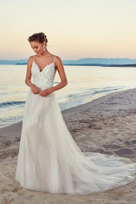 A line V-neckline Lace Wedding Dress,Spaghetti Straps With Train Bridal Gowns,Sparkly Beach Weding Dresses,2362