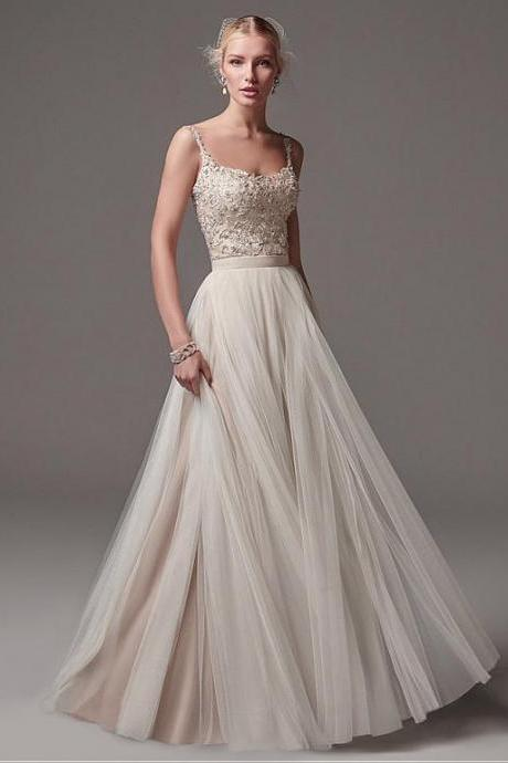 Modest Tulle Spaghetti Straps Neckline A-Line Wedding Dress With Beaded Lace Appliques & Belt,W2384