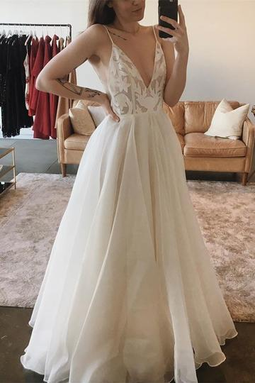 Simple ivory v neck wedding dresses, modest lace top bridal gowns, unique organza long beach wedding dresses,W2398