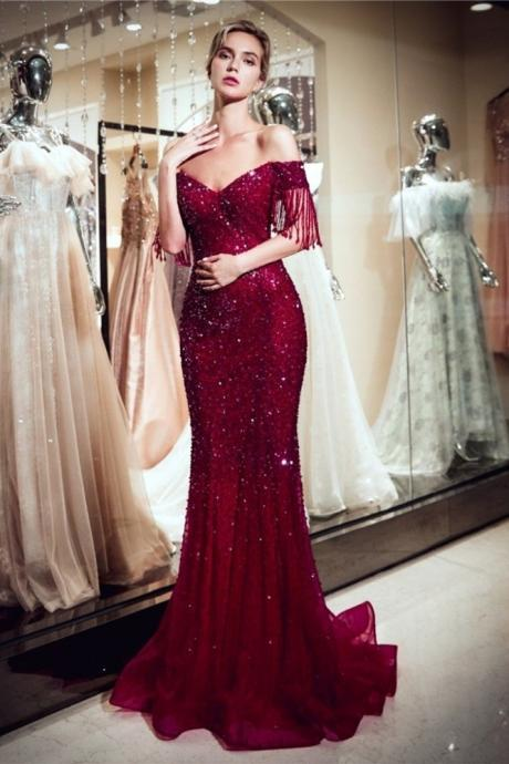 Stunning Off The Shoulder Sequined Burgundy Women Clothing Mermaid Maxi Prom Evening Dress,P2406