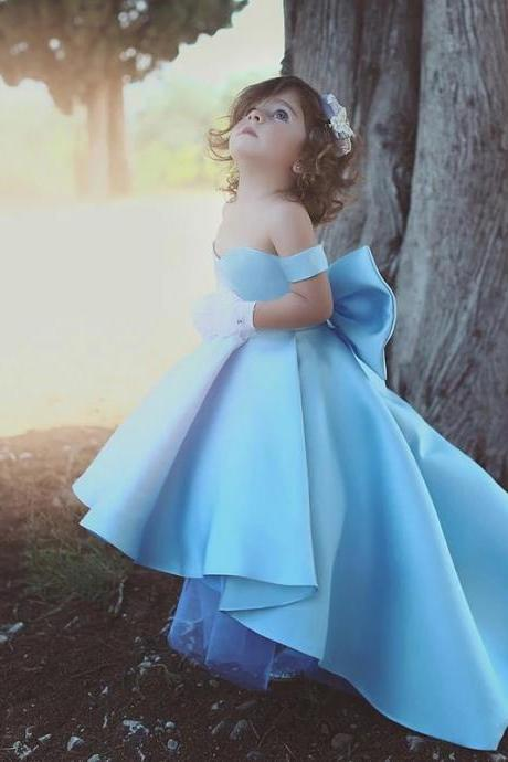 Flower Girl Dresses Blue Ball Gown Child Evening Party Gowns with Bow first communion dresses for girls,F2624