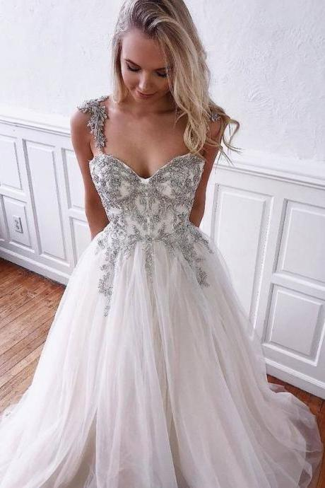 Sexy Prom Dresses with Appliques Beading Swetheart Neck Tulle Evening Dress A-Line Formal Gowns Cheap Prom Gowns,P2646