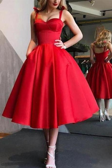 Red Spaghetti Strap Sweet Heart Tea Length Long Evening Prom Dresses,P2662
