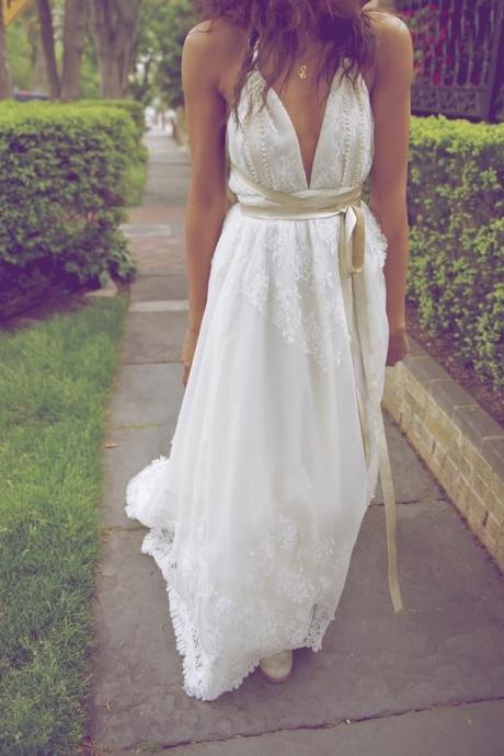 A Line Halter Neck Backless Lace Appliques Beading Wedding Dresses, Beach Wedding Dress,W2717