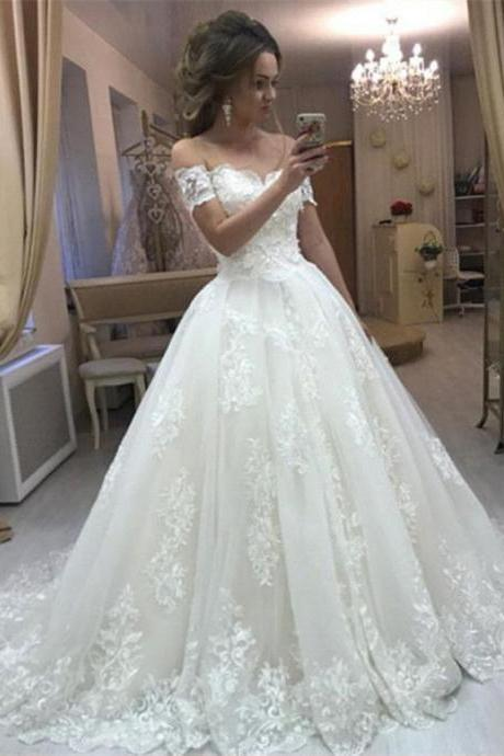 Romantic Women Ball Gown Wedding Dresses, Lace Off the Shoulder Bridal Gown with Short Sleeves,W2803