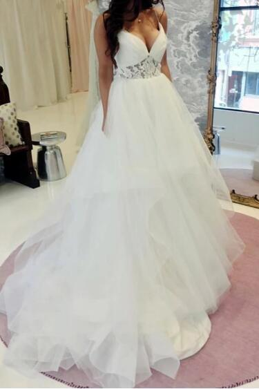 Elegant Spaghetti straps A Line V Neck Ruffles Tulle Princess Wedding Dresses with Lace Appliques,P2846