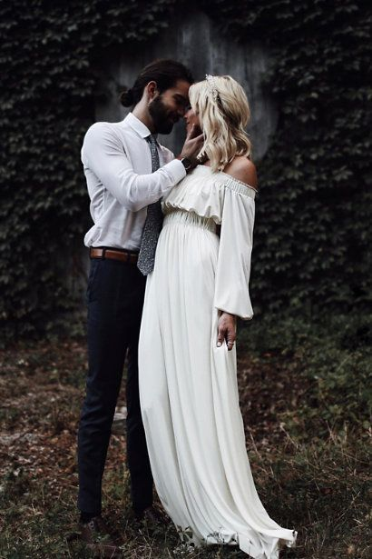 Simple Boho Wedding Dress, Strapless Wedding Dresses Bridal Dress, Elegant Wedding Gown Bridal Gown,W2874