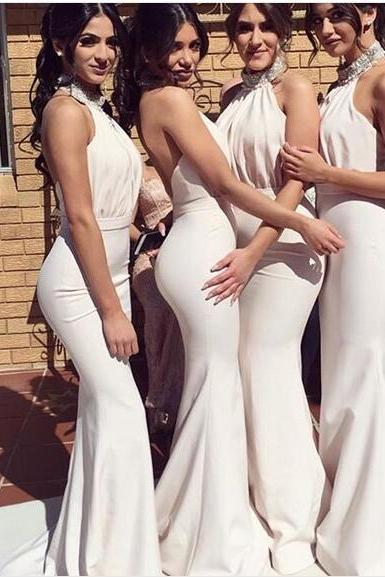 2019 Mermaid Satin Bridesmaid Dresses High Neck Beading Crystals,P3062