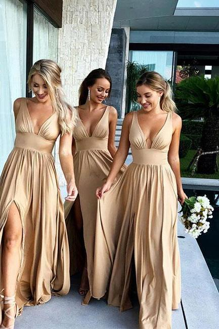 Champagne V-Neck Long Bridesmaid Dress With Split,P3065