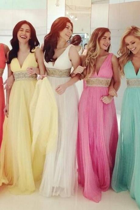 Custom Made Pastel Coloured V-Neckline Pleated Floor Length A-Line Mismatched Bridesmaid Dress with Beaded Empire Waistline,P3065