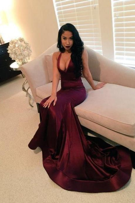 Sexy Prom Dresses,New Arrival V-neck Prom Dresses, Sexy Evening Dresses, Formal Dresses, Dark Red Party Dress, Prom Dresses Custom Made, P3374