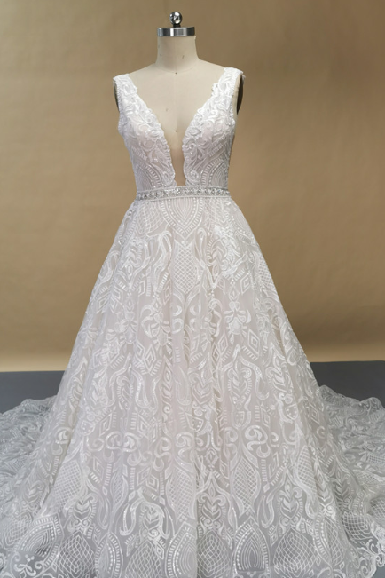 Elegant V neck Lace Wedding Dress, Backless Beaded Waist Wedding Gowns with Train, Bridal Gowns, 033