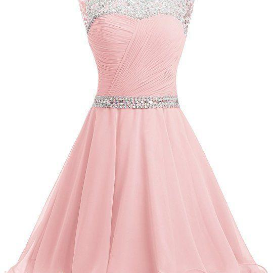 Short Chiffon Open Back Prom Dress With Beading Homecoming Dress Pink