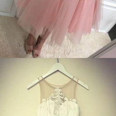 blush pink Homecoming Dresses,Cheap Short Homecoming Dresses,lace Homecoming Dress for teens