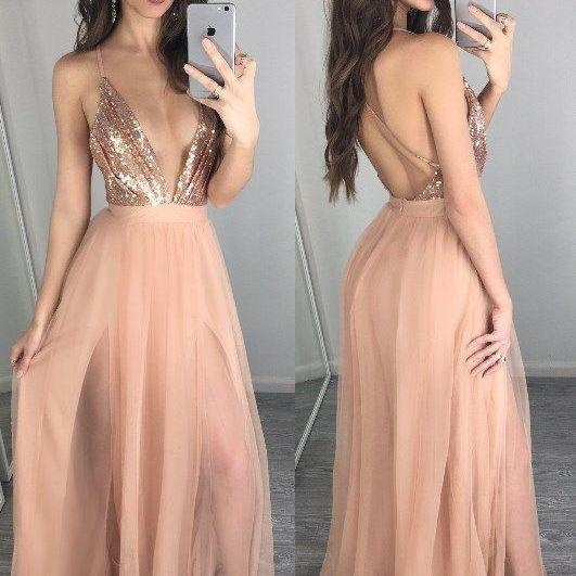 Unique v neck sequin long prom dress, Sexy Prom Dresses, Long Prom Dresses