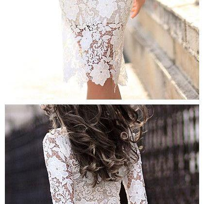 Lace 3/4 Sleeve Prom Dresses,Pretty Short Prom Dresses,Charming Women Dresses