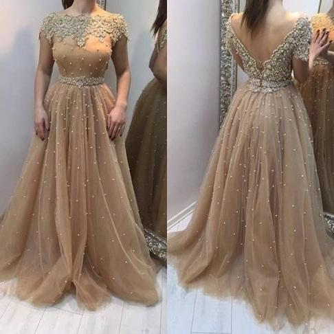 O-Neck Beading Prom Dress,Long Prom Dresses,Cheap Prom Dresses, Evening Dress Prom Gowns, Formal Women Dress,Prom Dress