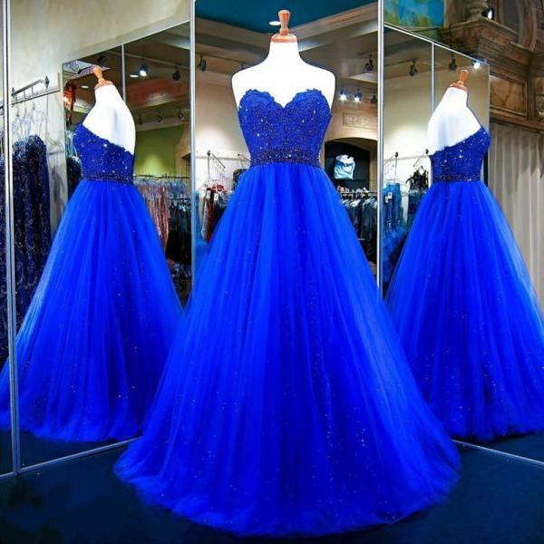 Long Prom Dress,Tulle Ball Gowns,Royal Blue Evening Dress,Sweetheart Prom Gowns