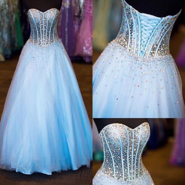 Blue Beading Lace-up Ball Gown Tulle Prom Dresses 2017