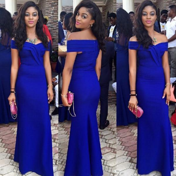 Royal Blue Sheath Off-the-Shoulder Sleeveless Natural Prom Dresses 2017
