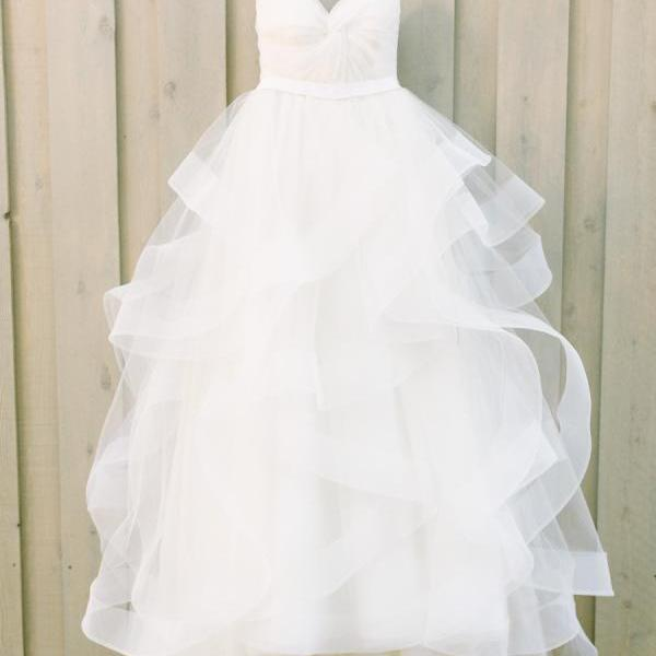 Spaghetti Strap Sweetheart A-Line Wedding Dress with Ruffles Horsehair Hemline,PD865