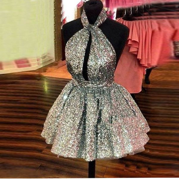 Shiny sequins short mini cocktail dresses,homecoming dresses,H1135