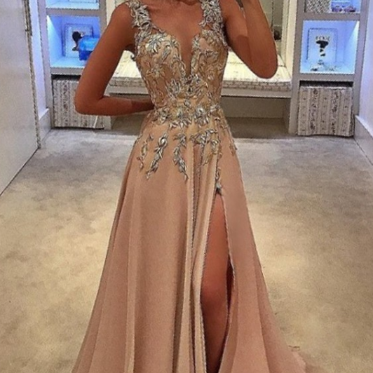 A-Line Deep V-Neck Sweep Train Champagne Chiffon Prom Dress with Appliques,P1139